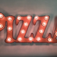 PIZZA Restaurant Lighted Marquee Sign made of Rusted Recycled Metal Vintage inspired