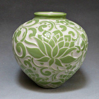 Light Green Lotus Large Round Vase... In Stock