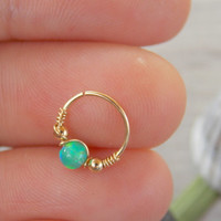 SMALL Green Opal NOSE RING // Ear / Cartilage / Helix / Tragus hoop gold piercing. 20 gauge 22g