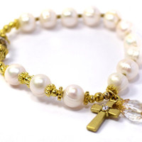 Prayer Beads, Round White Cultured Fresh Water Pearls, Rosary Bracelet, Gold colored Cross and Accents, Swarovski charm bead