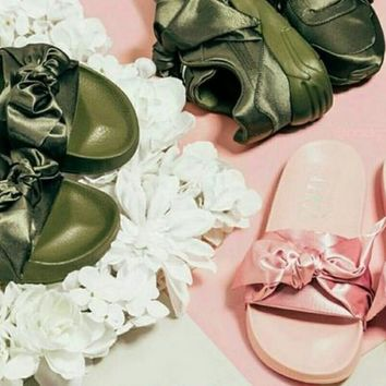 PUMA fenty rihanna silk slides sneakers-spring-Bow Slide Sandals Shoes (10-color) Army