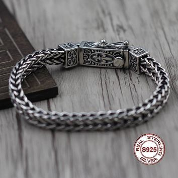 S925 Men's Sterling Silver Bracelet Retro jewelry The classic shape of the anchor pattern