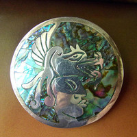 Abalone Sterling Aztec Warrior Brooch-Pendant, Taxco Mexico Inlay, Vintage