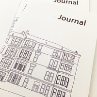 A5 Glasgow Journal, Handmade Notebook, Scottish Journal, travel journal, monochrome journal