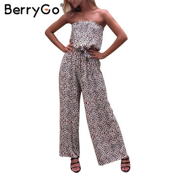 BerryGo Leopard off shoulder sexy long jumpsuit romper Elegant soft chiffon print playsuit Summer beach belt loose overalls