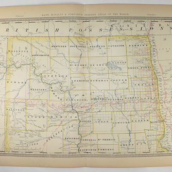 Old North Dakota Map 1881 Rand McNally Map of Dakota Territory, Dakota ND Map, North Dakota Gift for Husband, Antique Map Vintage Home Decor