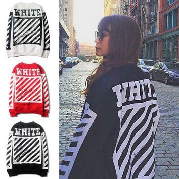 OFF WHITE Classic Fashionable Women Men Casual Print Long Sleeve Round Collar Velvet Pure Cotton Sweater Top Sweatshirt