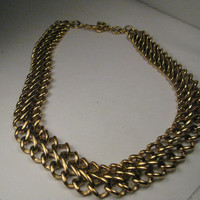 """Vintage Monet Statement Necklace, Gold Tone 18"""" with 2"""" extender - Classic"""