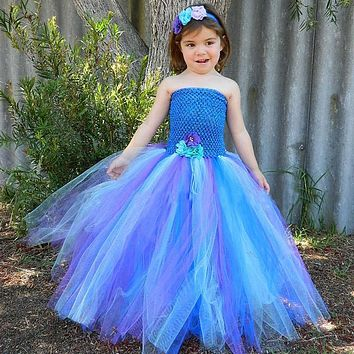 2017 Purple Blue Peacock Tutu Dress for Girls Kids Festival Holiday Party Pageant Ball Gown Flower Girl Dresses Vestido Infantil