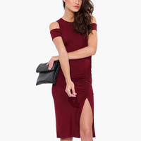 Wine Red Cutout-Shoulder Bodycon Dress With Slit