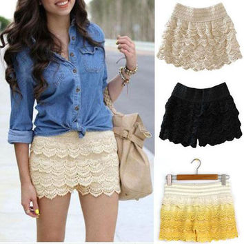2016 Summer Fashion Style Women Shorts Skirts Feminino High Waist Casual Crochet Shorts Tiered Girls Lace Skirt Hot Selling