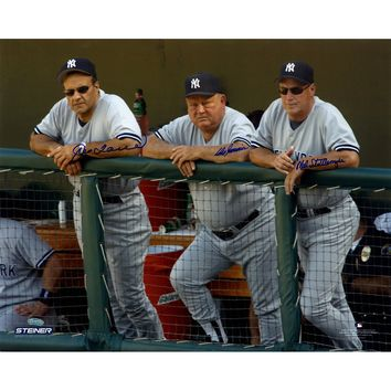 Joe Torre Don Zimmer and Mel Stottlemyre Triple Signed On Dugout Steps 16x20 Photo (Signed in Blue)
