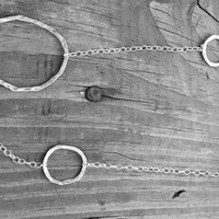 Long Multi-Hoop Silver Necklace, Large and Small Hoop Necklace, 36""
