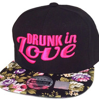 Flat Bill Snapback Hip 3D DRUNK IN LOVE Hip Hop Floral Flower Hot PInk Bill