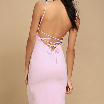 Grace Willow The Label Sharni Mauve Pink Lace-Up Midi Dress
