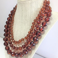 Lucite Transparent Amber Bead Necklace Graduated Faceted Round Beads Multi Strand Vintage Mid Century Jewelry 418