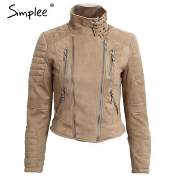 Simplee Faux Leather Suede Outerwear