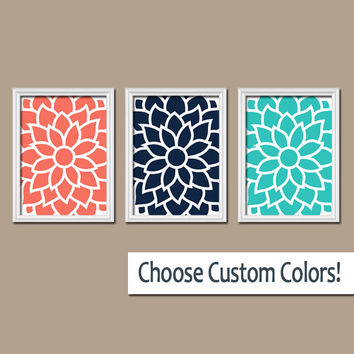 Coral Navy Turquoise FLOWER Wall Art Artwork Bedroom Bathroom Picture Large Floral Dahlia Bloom Petals Set of 3 Trio Prints Home Decor Three