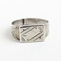 Antique Coin Silver Ring - Early 1900s Edwardian Etched Geometric Line Adjustable Jewelry Hallmarked Coin