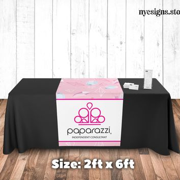 Paparazzi Table Runner - Pink Diamond Pattern Background - Size 2ft x 6ft
