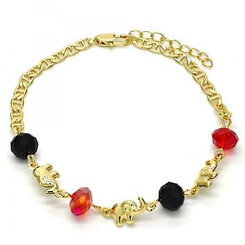 Gold Layered 03.213.0043.07 Fancy Bracelet, Elephant Design, with Garnet and Black Crystal, Polished Finish, Golden Tone
