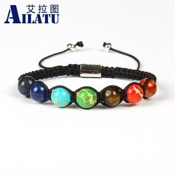Ailatu Brand Jewelry 8mm Natural Rock Beads 7 Chakra Healing Stone Yoga Meditation Macrame Bracelet