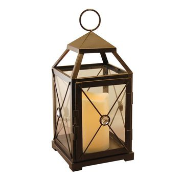 Metal Lantern with Flickering Battery Operated LED Candle- Black Gem