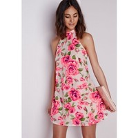 Missguided - Rosieta High Neck Rose Print Mini Dress