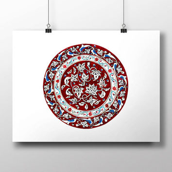 Turkish Carnation Claret Red Art Watercolor Print Ottoman Digital Print Wall Art Traditional Wall Decor Wall Hanging
