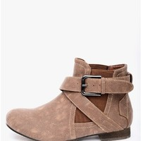 Brown Take a Hike Buckled Ankle Boots | $10.00 | Cheap Trendy Boots Chic Discount Fashion for Women
