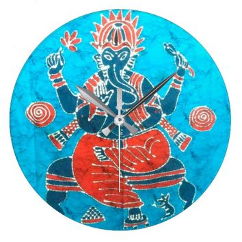 Lord Ganesh batik folk india textile Large Clock