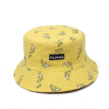VORON 2017 Reversible Bucket Hat Unisex Fashion Bob Caps Hip Hop Gorro Men Summer Caps Beach Sun Banana Bucket Hat Fishing Cap