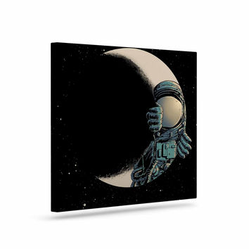 "digital carbine ""Crescent Moon"" Black Illustration Canvas Art"