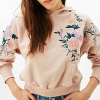 Women Fashion Embroidery Rose Flower Top Sweater Pullover Hoodie(3-Color) Pink