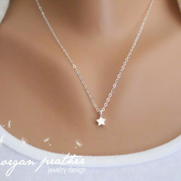 Little Star Sterling Silver Necklace - Dainty Minimal Simple Gift - Sterling Silver Fine Chain - morganprather
