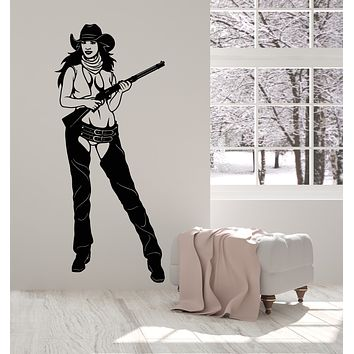 Vinyl Wall Decal Wild West Texas Woman Cowgirl Gun Sexy Women Hat Stickers Mural (g1070)