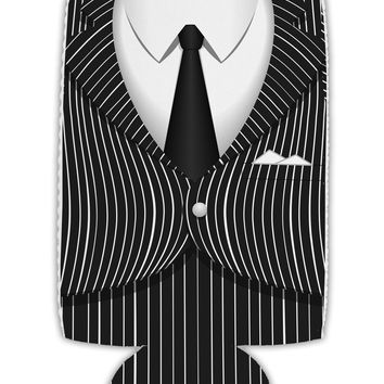 Pinstripe Gangster Jacket Printed Costume Collapsible Neoprene Tall Can Insulator All Over Print