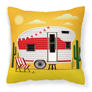 Greatest Adventure Retro Camper Desert Fabric Decorative Pillow BB5479PW1414