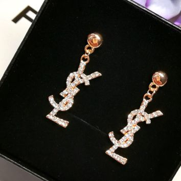 YSL pearl earrings in gold letters earrings