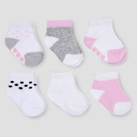 Baby Girls' 6pk Basic Ankle Terry Socks - Just One You® made by carter's Pink/Gray 0-3M