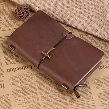 Personalized Leather Journal Notebook With Cross -Hand Crafted Vintage Refillable Leather Traveler's Notebook - Medium Size