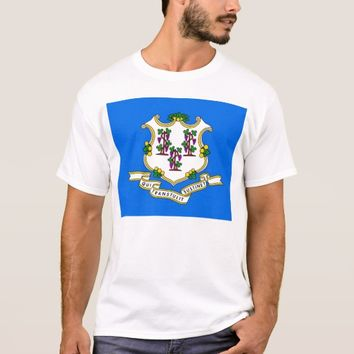T Shirt with Flag of Connecticut State USA