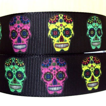 "3 Yards of 7/8"" Sugar Skull Grosgrain Ribbon Halloween, Dia De Los Muertos"
