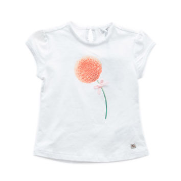 Fun&Fun - Baby Girl Basic Short Sleeve T-Shirt With Flower, White