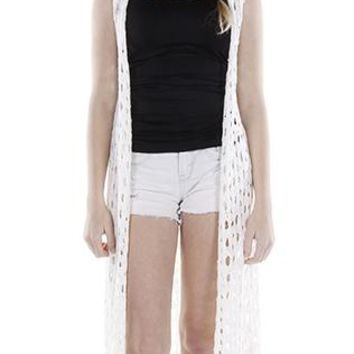 Vest Crocheted Long Coverup