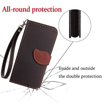 For Xiaomi 5 5c Luxury Leather Cover Flip Wallet Phone Case For Xiaomi Note With Leaves Buckle And Lanyard Mobile Phone Shell