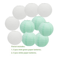 5 pieces white+5 pieces mint green  round paper lanterns wedding baby shower girls' party paper hanging decor favor