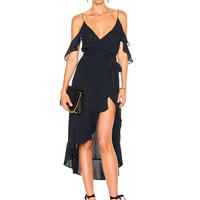 NICHOLAS Georgette Wrap Dress in Navy | FWRD