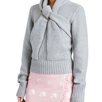 Burberry Twist-Front Cashmere Sweater, Gray