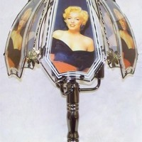 Marilyn Monroe Black Chrome Touch Lamp w/ Glass Shade